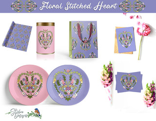 Floral Stitched Heart