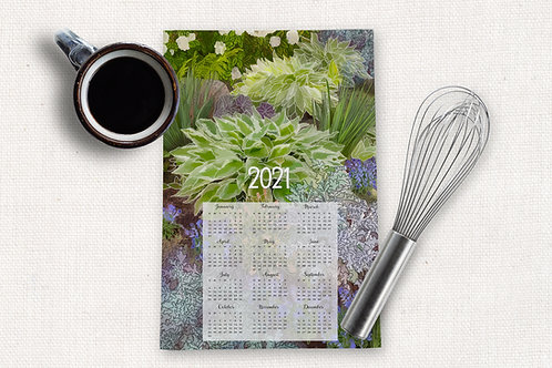 Hand-drawn Hosta Garden Kitchen Towel Calendar