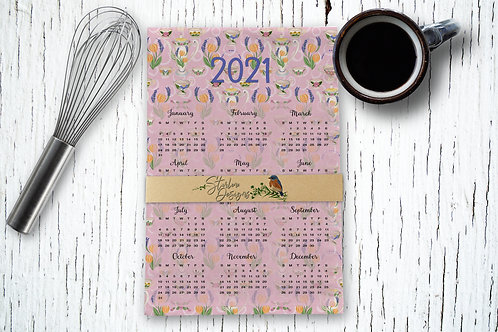 Hand-drawn Folk Art Pottery Kitchen Towel Calendar