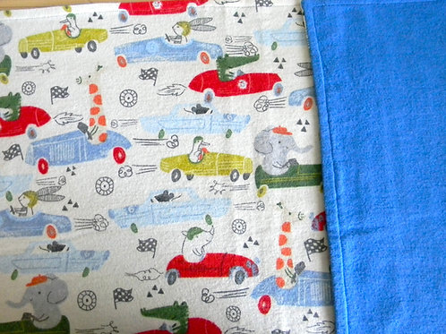Animal Friends in Cars Flannel Blanket
