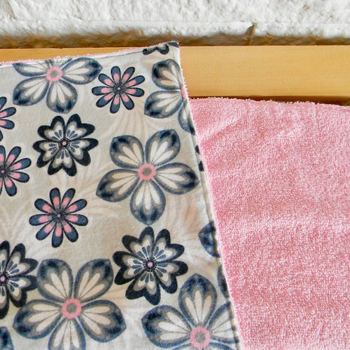Pink and Blue Floral Burp Cloth