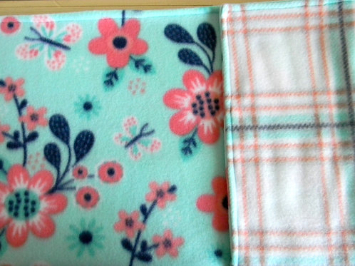 Whimsy Coral Floral Fleece Blanket