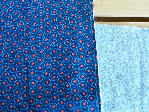 Blue and Orange Star Burp Cloth