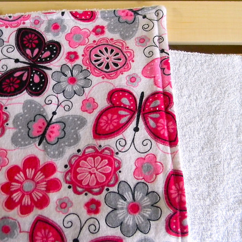 Pink & Black Butterfly Burp Cloth