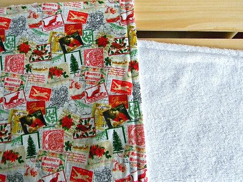 Vintage Christmas Stamps Burp Cloth