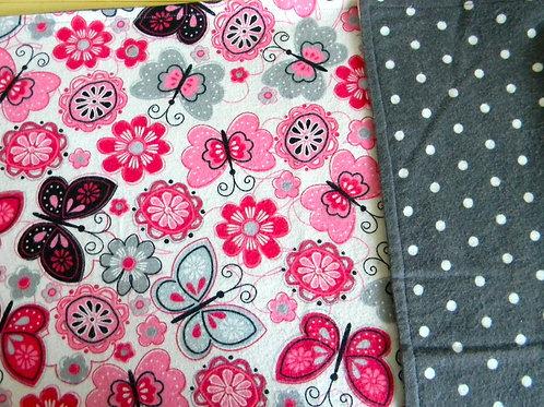 Pink Butterflies Flannel Blanket