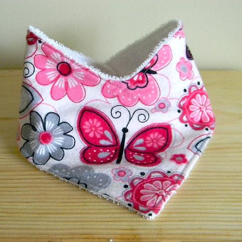 Pink & Black Butterfly Drool Bib