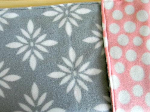 Modern Grey Floral Fleece Blanket