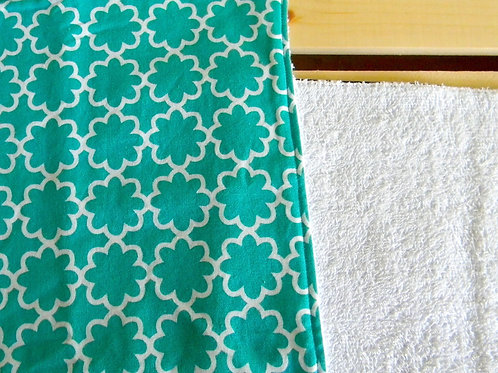 Teal Flower Burp Cloth