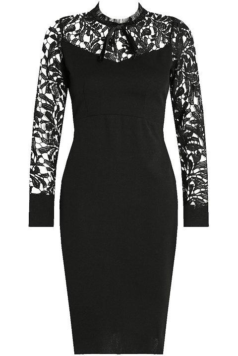 Black Floral Lace Midi Dress