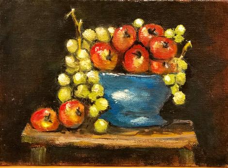 Still Life - Grapes & Apples
