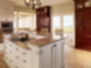 StarMark Alexandria Inset Kitchen Cabinets in Male Macadamia and Cherry Brittanty