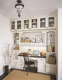 White built in office and desk cabinets by StarMark Cabinetry available from Click Cabints