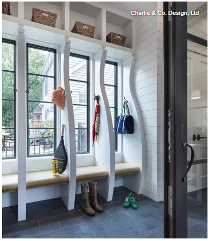 Mudroom, entryway with a lot of windows, bench, and baskets