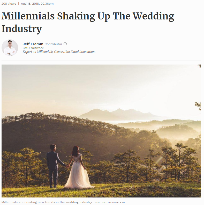 Forbes: Millennials Shaking Up The Wedding Industry