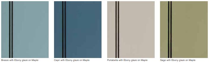 Breeze, Capri, Portabella, and Sage with Ebony Glaze on Maple by StarMark Cabinetry