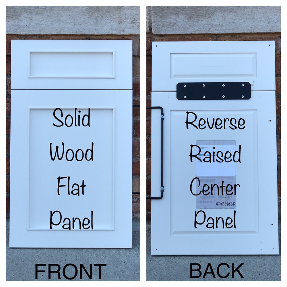 Solid wood flat panel kitchen cabinet door with reverse raised center panel
