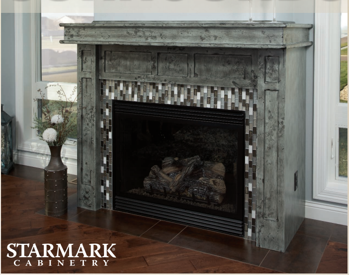 StarMark Cabinetry Homestead Fog Fireplace Surround Distressed Finish