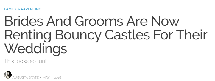 Brides and grooms are now renting bouncy castles for their weddings