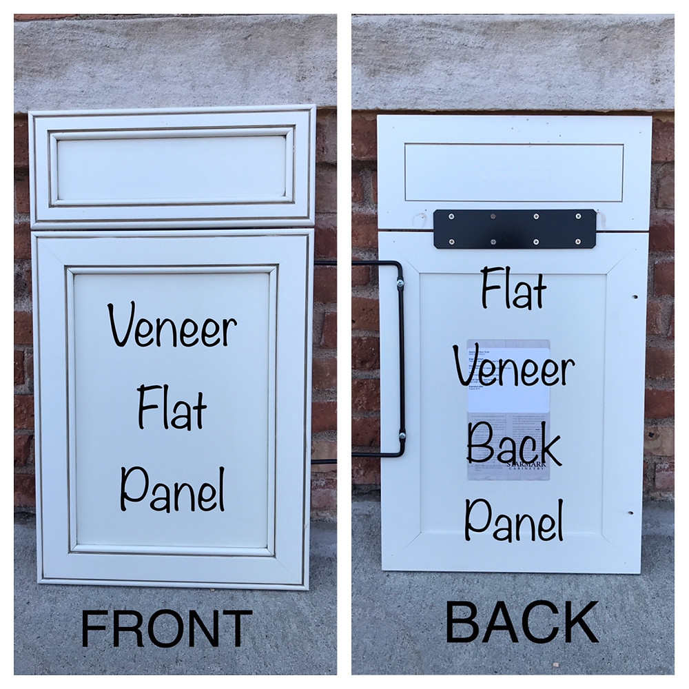 Flat veneer center panel cabinet door front and back