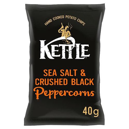 Sea salt & crushed black peppercorns kettle chips - 18x40g