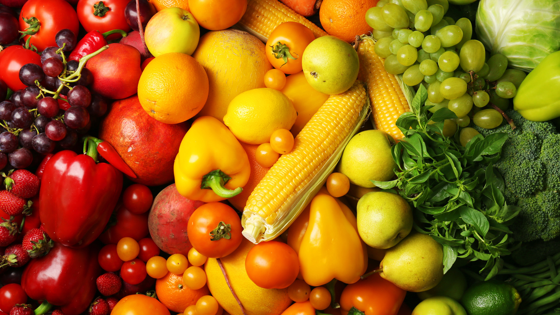 Colorful fruits and vegetables backgroun