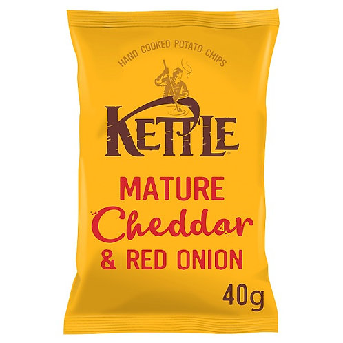 Mature cheddar & red onion kettle chips - 18x40g