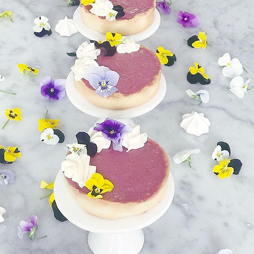 Raspberry Tart with Edible Flowers