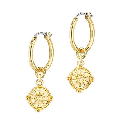 Gold Compass Earring - Hollywood Sensations