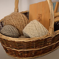 Basket with balls of spun yarn from dogs and cats