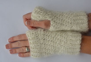 Crocheted fingerless mitts made from spun dog hair