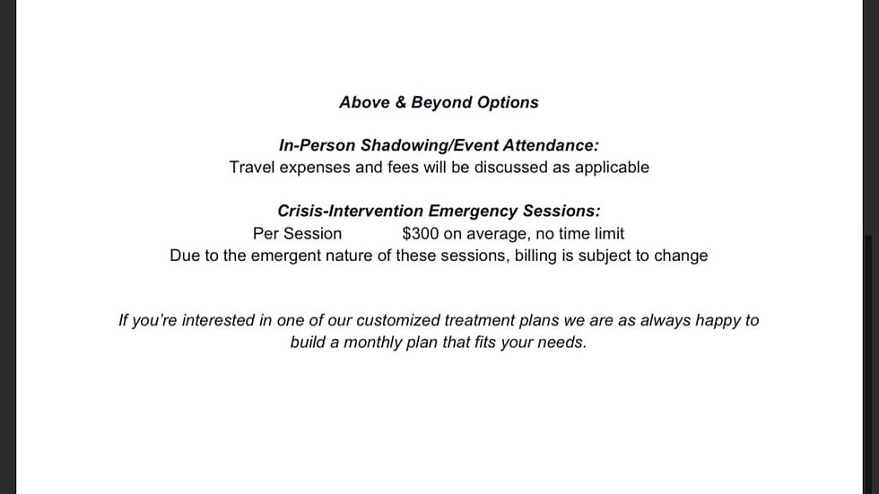 Above and Beyond Options starting at...