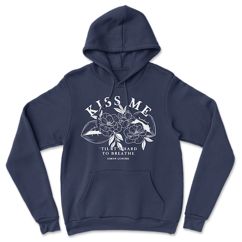 """Kiss Me"" Supersoft Lyric Hoodie - Dark Blue"