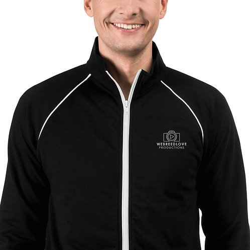 Embroidered Piped Fleece Jacket