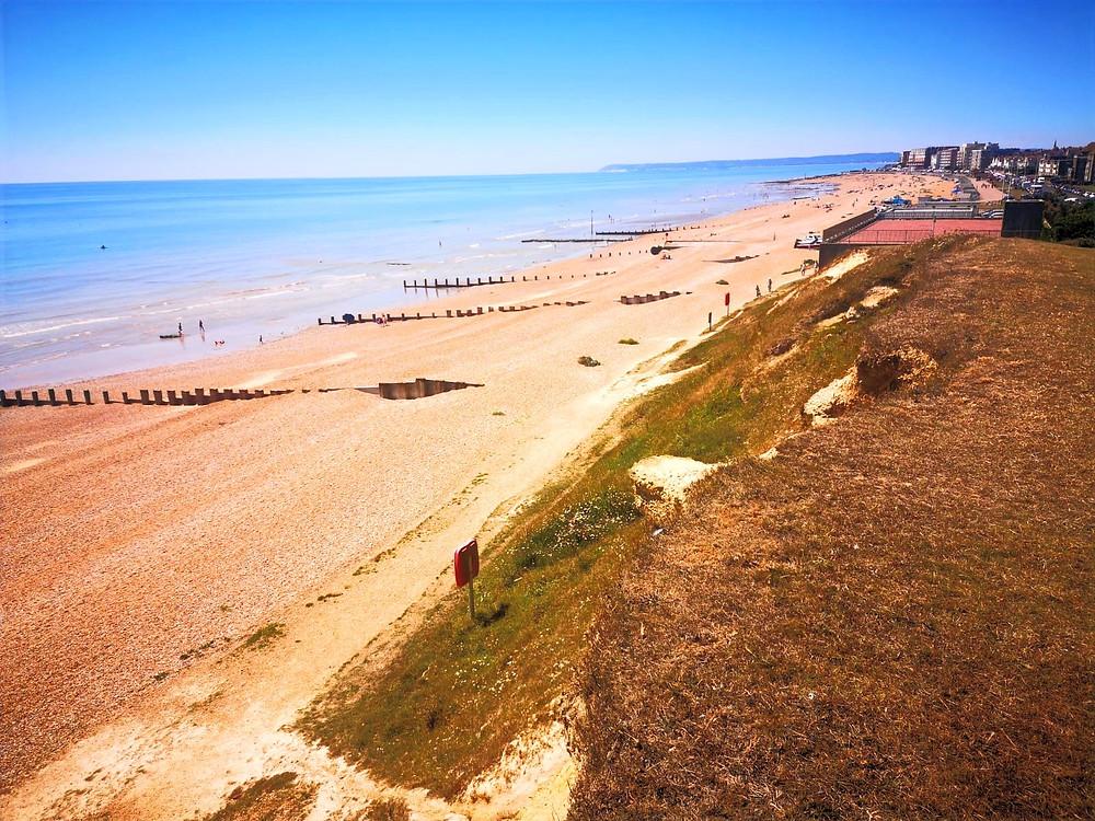 Hastings Beach, English seaside, Walking tour of Hastings to Bexley