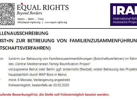 Vacancy: Jurist*in zur Familienzusammenführung im Botschaftsverfahren - German required