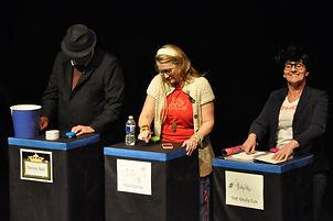 Dennis Noll, Jenni Lord and Angela White present Celebrity Jeo-parody
