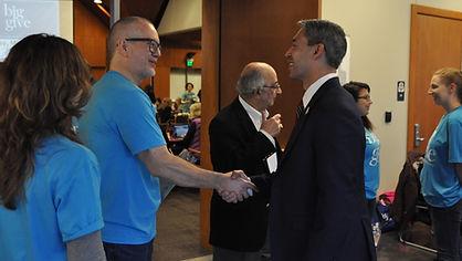 Nonprofit Council CEO Scott McAninch greets San Antonio Mayor Ron Nirenberg