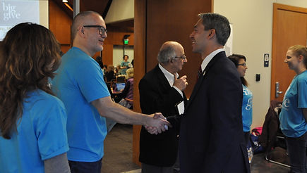 Nonprofit Council CEO Scott McAninch greets San Antonio Mayor Ron Nirenberg