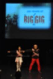 Hosts Scott McAninch and Rene Garvens as Spartan Cheerleaders