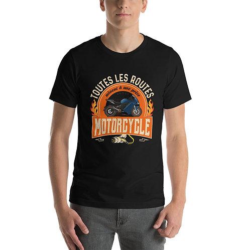 """T-shirt """"Toutes les routes..."""" - Unisexe à Manches Courtes"""