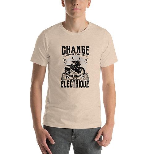 """T-shirt """"Change le monde"""" - Unisexe à Manches Courtes"""