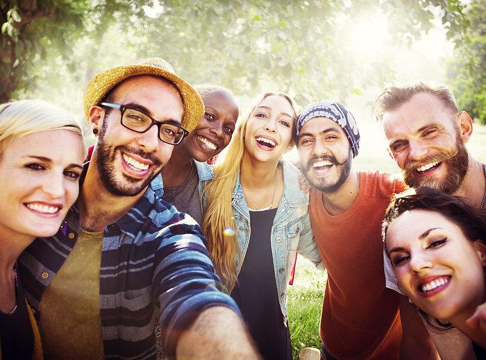Diverse Summer Friends Fun Bonding Selfi