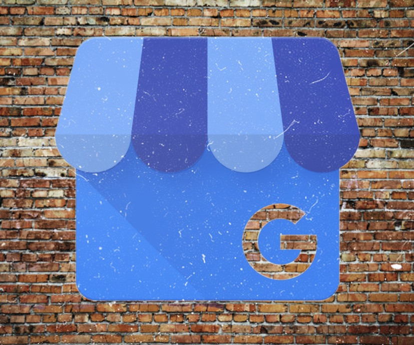 Google My Business Logo over Brick and Mortar