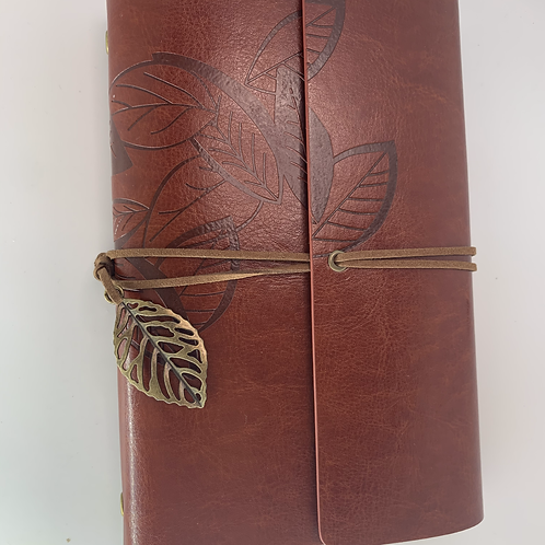 Red Leather Cover Loose Leaf Blank Journal