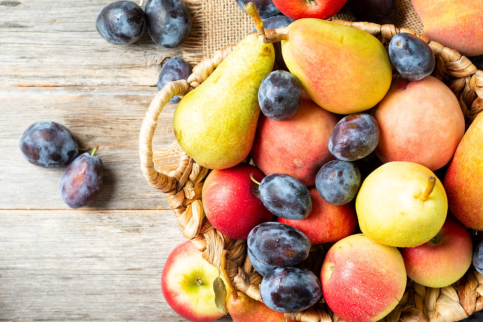 Assortment of fruits in a basket on the