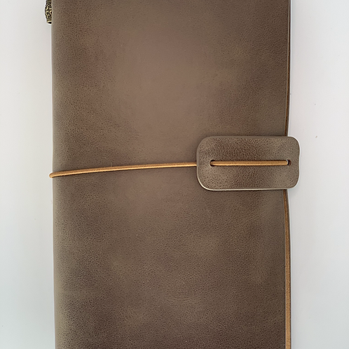 Handmade Grey Leather Lined Travel Journal