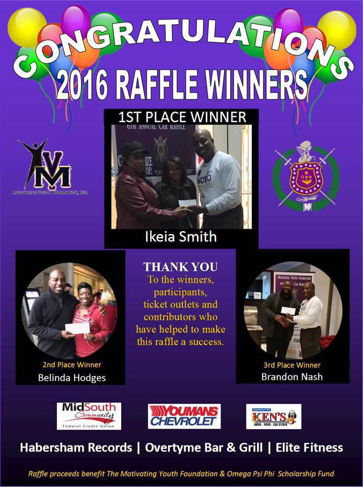 2016 Raffle Winners