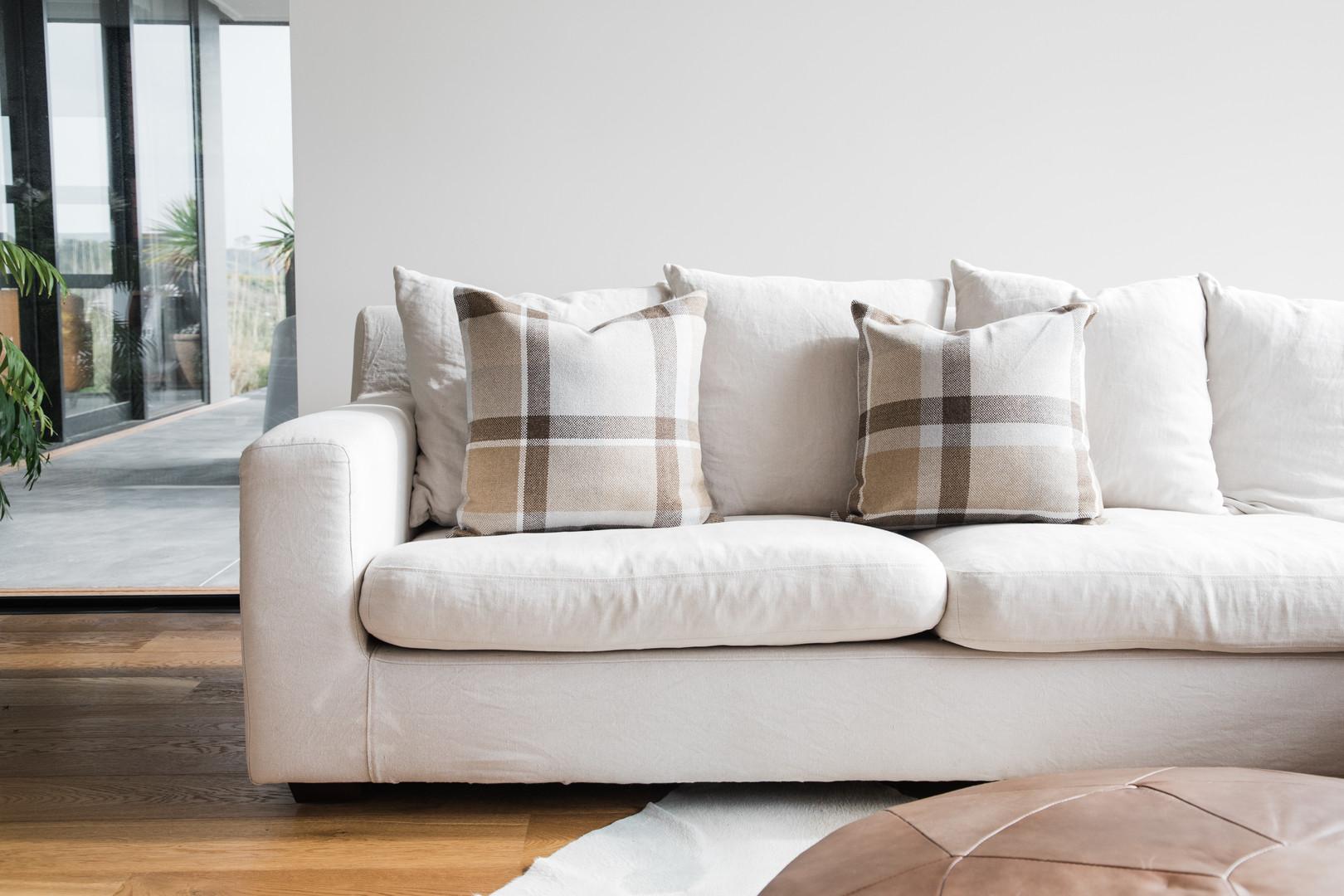 Large Check on Sofa