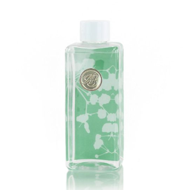 clear bottle with white lid and green background